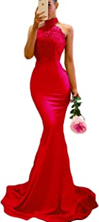 Women's Long Halter Mermaid Prom Dressweep Train Backless Lace Evening