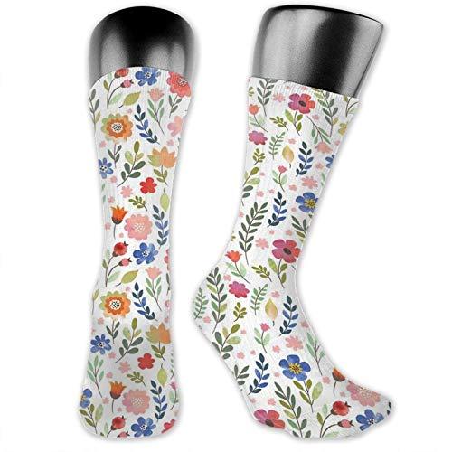 Moruolin Socks Cute Funny Cotton For Summer,Shabby Chic Botany Florets In Soft Tones Feminine Flourishing Wreath Watercolor Design,Running Outdoor Recreation,Trainer Socks for Men and Women