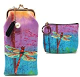 Value Arts Colorful Dragonfly Eyeglass Case and Coin Purse Bundle