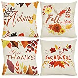 """Fall decor: Are you still looking for the decoration for Thanksgiving/fall/harvest party? """"Autumn is calling"""", """"Give thanks"""", """"Fall in love"""",""""Be grateful"""", each one comes with beautiful maple leaves. Add a little autumn flair with these fall throw pi..."""