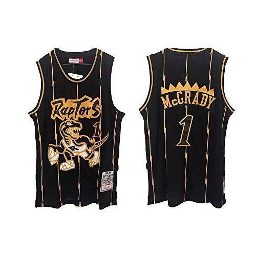 FMSports Camisetas De Baloncesto Clásicas para Hombres - NBA Rockets Raptors # 1 Tracy McGrady Camisa Transpirable De Malla Bordada Guardia De Tiro Negro,L(175CM/75~85CM)
