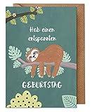 Faultier Geburtstagskarte: Hab einen entspannten Geburtstag (Karte mit Umschlag, Recycling-Papier, Happy Birthday) | dabelino