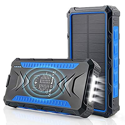Solar Power Bank 36000 mAh, Qi Wireless Charger, DJROLL Portable Solar Charger with Dual USB & Type-C Port 5V/3A Output, IP66 Waterproof Powerbank, Flashlights Cell Phone Charger for Camping Outdoor