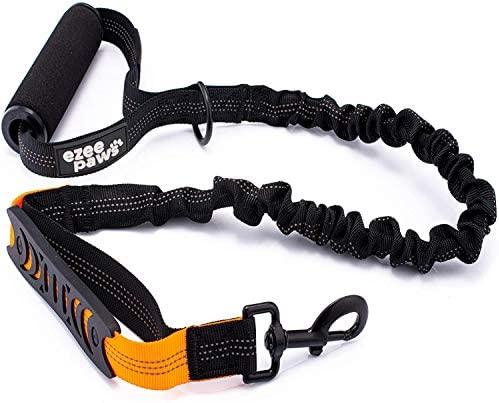 Ezee Paws No Pull Dog Lead, Strong Anti Pull Bungee Dog Leash, Padded Handle, D-ring for Dog Accessories, Reflective Stitching and Traffic Handle