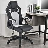 ArtLife Racing Schreibtischstuhl Montreal weiß | Armlehnen gepolstert & ergonomische Rückenlehne | Bürostuhl Drehstuhl Gaming-Stuhl