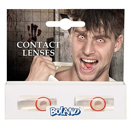Boland 40014 - Farbige Kontaktlinsen Psycho, Rot, ohne Sehstärke, Monatslinsen, 2 Stück