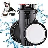 FancyWhoop Botella de Agua para Perros Portatil Envase de Comida para Perros Un Conjunto de 2 Plegable Tazones para Perros Gatos Mascotas Adecuado para al Aire Libre, Caminar, Viajar Negro