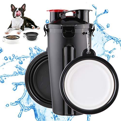 FancyWhoop Tragbare Hund Katze Haustiere Wasserflasche Travel Trinkflasche Wasser Schüssel 2 Silikon hundenapf faltbar Wassernapf für Camping, Spaziergang, Wandern, Training, Unterwegs Schwarz