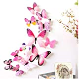 Bokeley 12 x PCS 3D Colorful Butterfly Wall Stickers DIY Art Decor Crafts for Nursery Classroom Offices Kids Girl Boy Baby Bedroom Bathroom Magnets (Pink)