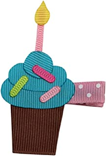 Bows for Belles Birthday Cupcake Hair Bow Ribbon Sculpture (Turquoise) Made in the USA
