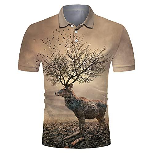 SSBZYES Camiseta para Hombre Camiseta De Manga Corta para Hombre Camiseta Polo Camiseta Estampada Camiseta De Secado Rápido con Solapa Camiseta Estampada De Manga Corta con Estampado De León