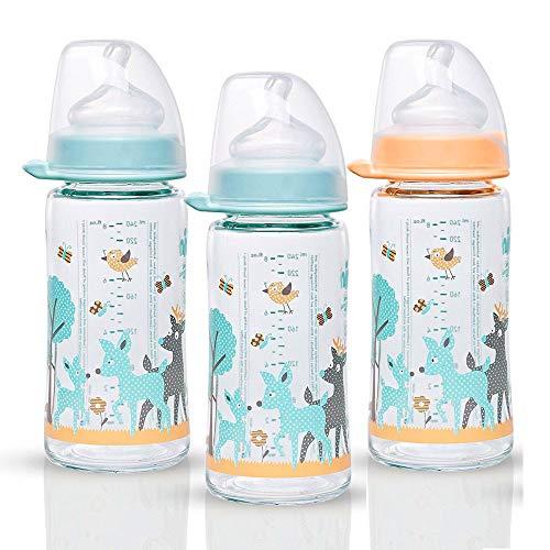 NIP Weithalsglasflasche Glas Flasche Mint & Creme Mix// 3er Set // Glas-Babyflasche // 240 ml // mit Weithalstrinksauger anatomisch, Silikon, Gr. 0+, Milch