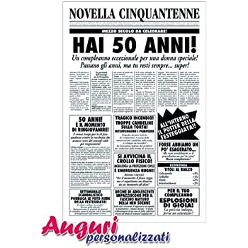 Bombo Biglietto Auguri Giornale Compleanno 50 Anni Amica Amazon