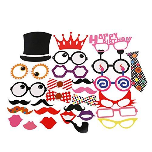 PIXNOR Photo Booth Props 29pcs kit de BRICOLAGE pour mariage réunions Birthday Party, verres Moustache rouge lèvres cravates sur bâtonnets
