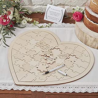 Ginger Ray BH-756 Wooden Jigsaw Wedding Guestbook-58 Piece