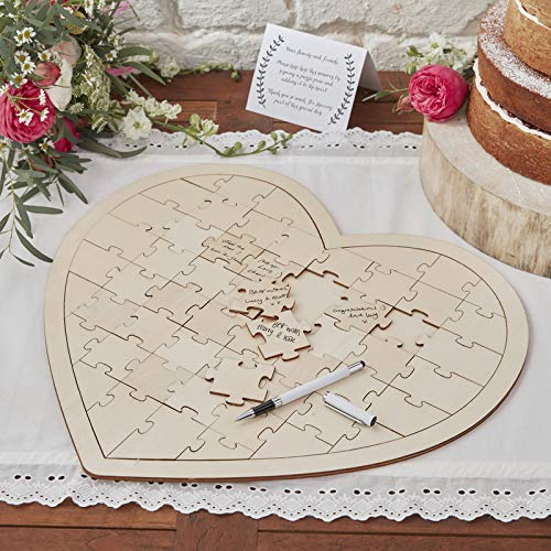 Ginger Ray Holzpuzzle Hochzeit Gästebuch 58 Teile Boho