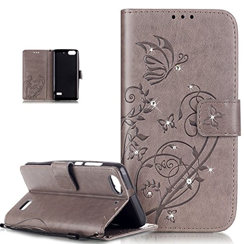 Cover Huawei Honor 4C,Cover Huawei G Play Mini,ikasus Goffratura Vines Fiore Farfalle Cristallo 3D Diamante Bling Strass Flip Cover Portafoglio PU Pelle Wallet Stand Custodia Cover,Grigio