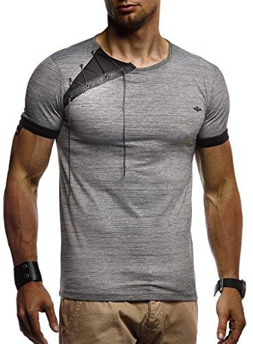 Leif Nelson Herren Sommer T-Shirt Rundhals-Ausschnitt Slim Fit Baumwolle-Anteil Moderner Männer T-Shirt Crew Neck Hoodie-Sweatshirt Kurzarm lang LN1245 Anthrazit Large