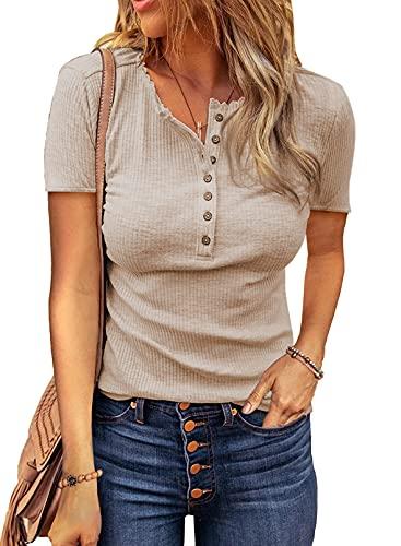 Dokotoo T-Shirt Damen Sommer Oberteile Beige Elegant Ribbed Tee Tops Casual Kurzarm Shirts Blusen mit Knöpfen Medium