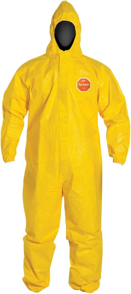 DuPont TyChem 2000 Coverall Hood & Elastic Wrists/Ankles, Serged Seams, Yellow, XL, 1 Pair - -