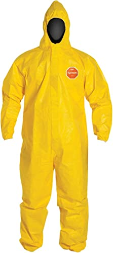 DuPont Tychem 2000 QC127S Disposable Chemical Resistant Coverall with Hood, Elastic Cuff and Serged Seams, Yellow, X-...