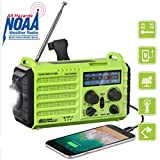 Weather Radio - Rocam Emergency Hand Crank Portable Radio Solar Power AM/FM/SW/NOAA Weather Radio with 2000mAh Power Bank Phone Charger, 3W LED Flashlight, Reading Lamp, 7 Weather Band, SOS Alarm