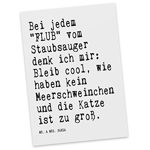 Mr. & Mrs. Panda Postkarte mit Spruch Bei jedem FLUB vom Staubsauger Denk ich Mir: Bleib cool, wir haben kein Meerschw