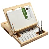 Artina Ensemble pour Peinture Acrylique Milano 19 Pieces avec chevalet de Table, Toile 20x30 cm, Peinture, pinceaux, Palette et Couteau à Peinture