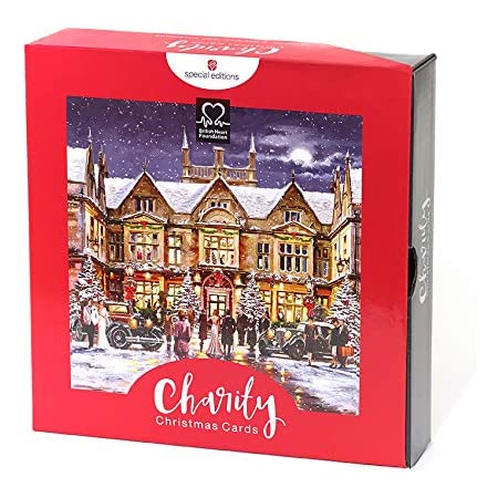 Box of 16 British Heart Foundation Charity Christmas Cards 2 Designs Card Boxes