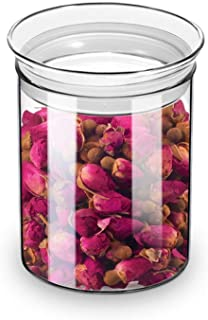 ZENS Airtight Glass Jar Container,15 Fluid Ounce Clear Glass Canister with Lid, Food Storage Jarsfor Kitchen Spice or Loo...