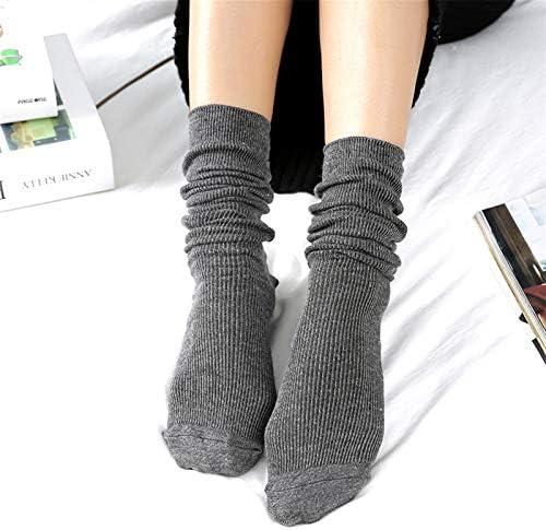 1 paar nieuwe herfst winter dragen schattige katoen effen kleur school stijl lange zachte stapels sokken rand krulvoorraden for vrouwen meisjes ColorDark Grey