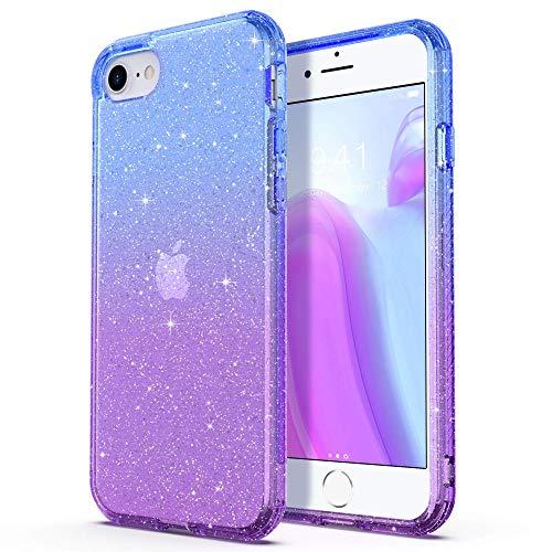 ARRISLIFE iPhone SE Estuche, Clear Soft TPU Bumper Cubrir Anti-Scratch & Shockproof Transparent Protective Cabina telefónica for Apple New iPhone SE/iPhone 7 / iPhone 8 4.7 Inch, Purple