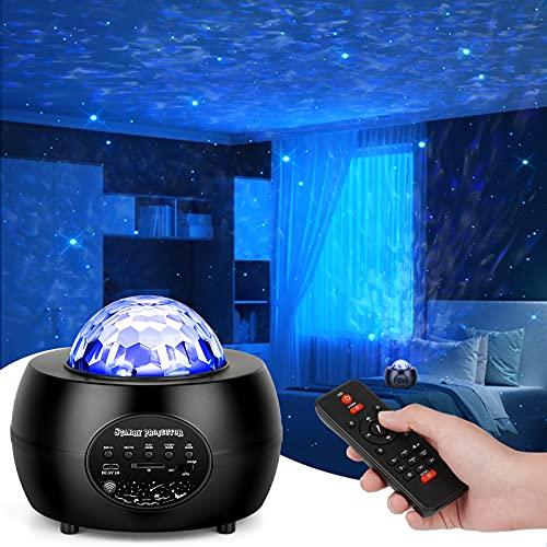 Smooce LED Sternenhimmel Projektor, Sternprojektor Nachtlicht Lampe, Rotierende Wasserwellen Projektionslampe,Farbwechsel Bluetooth Musikspieler mit Fernbedienung für Kinder Erwachsene Raumdekoration