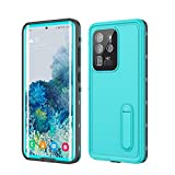 Fansteck Case S20 Ultra Waterproof, Galaxy S20 Ultra Waterproof Case Shockproof Dirtproof Snowproof IP 68 Full Body Protection With Kickstand for Samsung Galaxy S20 Ultra 6.9 Inch 5G (Aqua Blue/Stand)