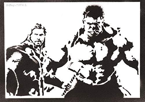 Poster Hulk e Thor The Avengers Handmade Graffiti Street Art - Artwork