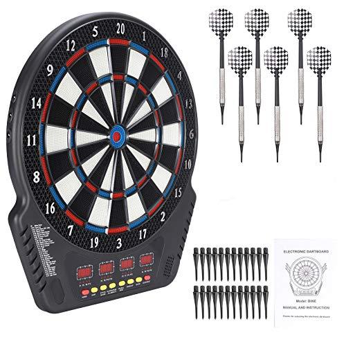 TOPQSC Dartscheibe 27 Spielmodi Automatische Wertung Soft Dart 243 Varianten Safety Dart Set LED-Anzeigebildschirm Geeignet für Familie und Freunde zum Gemeinsamen Spielen