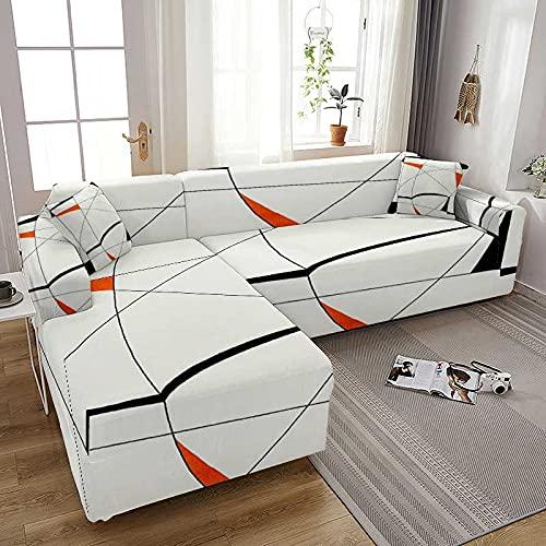 WXQY Funda de sofá elástica con Estampado geométrico para Sala de Estar, Todo Incluido, en Forma de L, Chaise Longue, Funda de sofá, Funda para sillones, A2, 2 plazas
