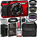 Olympus Tough TG-5 Digital Camera (Red) with Deluxe Accessory Bundle – Includes: SanDisk Ultra 64GB SDXC Memory Card + 2X Spare Batteries with Charger + Flexible Gripster Tripod + Adapter Tube + More