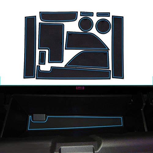 Muchkey Intérieur Coupe Porte Mat Tapis de Cuir Voiture Style Anti Poussière Antidérapante Tapis pour 2015-2017 Mustang 12 pièces par Set Bleu