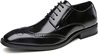 Xiang Ye Oxfords for Men Brogue Carving Shoes Lace up Genuine Leather Pointed Toe Burnished Style Hand-Made Stitching Solid Color Soft (Color : Black, Size : 8.5 UK)