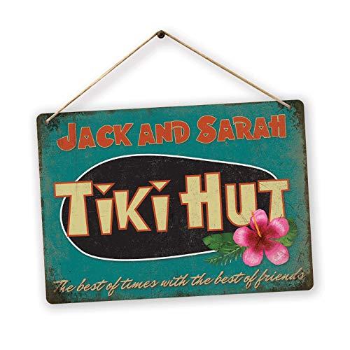 Personalised TIKI HUT - Custom Name – Medium Twine   Printed Metal Wall Sign bar Plaque
