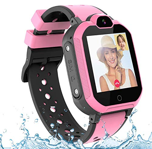 Bambini Smartwatch Localizzatore GPS 4G con Chat Video, Supporto SIM Card WiFi,SOS Help Camera Pedometro Compatibile con iPhone Android Smartphone bambini Regali(rosa)