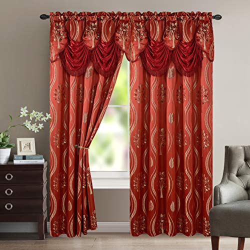 """Elegant Comfort Luxurious Beautiful Curtain Panel Set with Attached Valance and Backing 54"""" X 84 inch (Set of 2), Burgundy"""