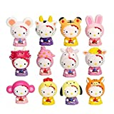 Yeooyoor Cute Cartoon 12 Chinese Zodiac Toys Figurine Playset, Mini Cute Toy Garden Cake Plant Decoration