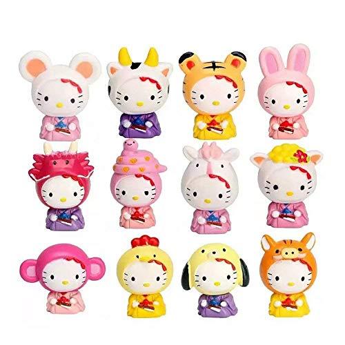 Yeooyoor Cute Cartoon 12 Chinese Zodiac Toys Figurine Playset, Mini Cute Toy Garden Cake Plant Decoration