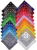Bandana Halstuch Biker 1er 3er 6er 12er Pack Nikki Tuch Schal Paisley Kopftuch 100% Baumwolle 25 Farben (3er, Gemischt mit unserer Auswahl)