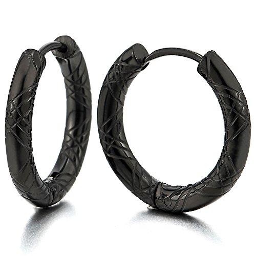 2 Negro Acanalados Círculo Pendientes del Aro, Pendientes para Hombre Mujer, Acero Inoxidable(14MM)