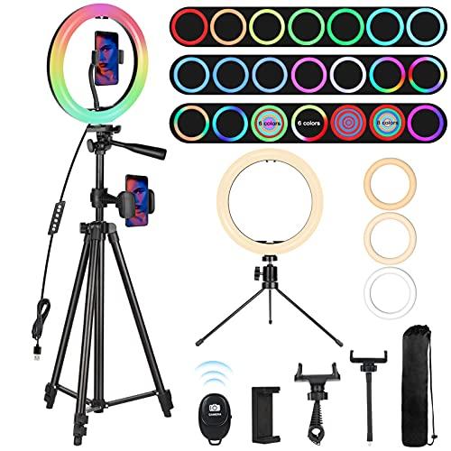 """Railee Luce ad Anello LED con Treppiede, 10"""" Ring Light Luce Tik Tok 21 Modalità Colore RGB e 9 Luminosità Luce LED Anello Alimentazione USB per TikTok, Trucco, Selfie, YouTube Video e Fotografia"""