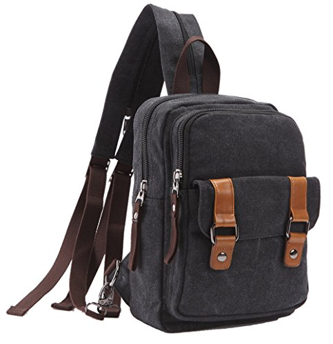 Arbag Small Cute Backpack Vintage Casual Canvas Shoulder Bag Daypack 8528bag,Black