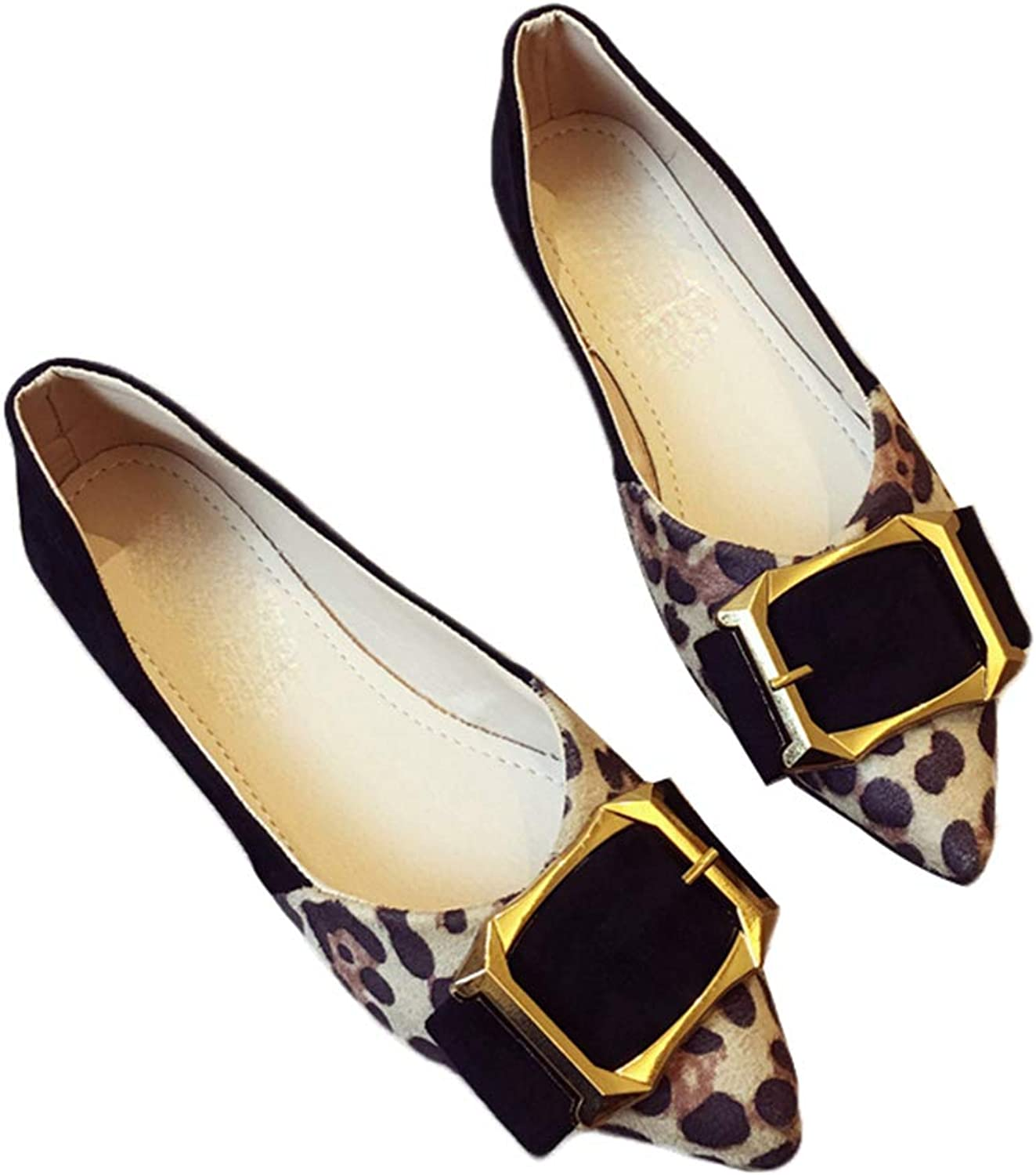 Kyle Walsh Pa Women's Flats shoes Pointed Toe Metal Buckle Leopard Print Ladies Stylish Soft Moccasins